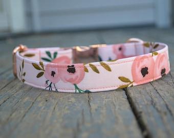 Dog Collar, Girl Dog Collar, Rose Dog Collar, Rose Gold Dog Collar, Dog Collars for girls, Dog Collar Floral, Flower Dog, Pink Dog Collar,