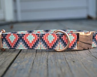 Tribal Dog Collar- Ikat Dog Collar, Aztec Dog Collar, Pink Dog Collar, Blush Dog Collar, Female Dog Collar, Geometric Pattern