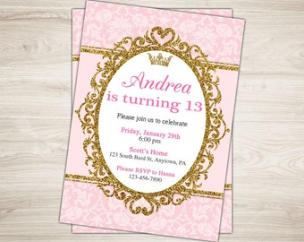 13th Birthday Invitation Girl Invite Teen Party Printable Tween To Pink Gold Princess Crown