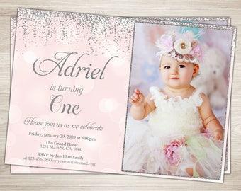 first birthday invitation girl 1st birthday invitation pink etsy