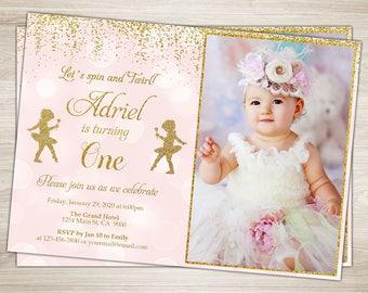 tutu birthday invitation girl 1st birthday pink and gold tutu etsy