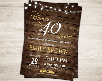 Cheers To 40 Years Invitation Rustic 40th Birthday For Men Wood Invite Printable Adult Party Man Male