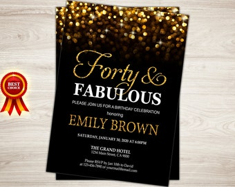 40th birthday invitation for women forty and fabulous birthday invitation surprise 40th birthday invitation gold glitter bokeh printable