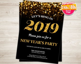 new years eve invitation black gold glitter new years eve party invite new years invite bokeh printable new years eve invitation 2019