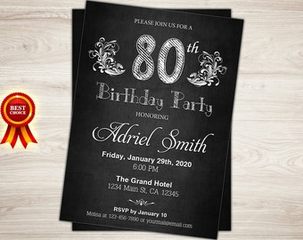 Surprise 80th Birthday Invitation Chalkboard Invite For Woman Party Printable