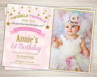 Pink And Gold First Birthday Invitation Twinkle Little Star Girl 1st Glitter 2nd Party Invite