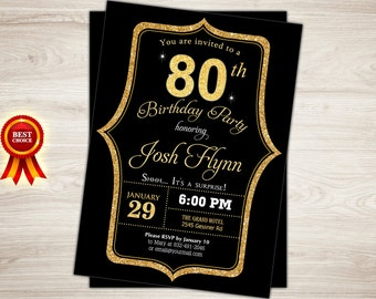 Surprise 80th Birthday Invitation Black Gold For Men Party Printable Invite
