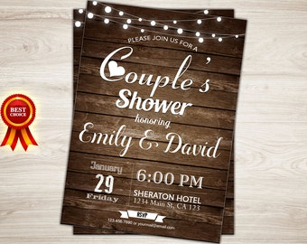 rustic couples shower invitation couples wedding shower invite printable couples shower invitation wood co ed wedding shower invitation