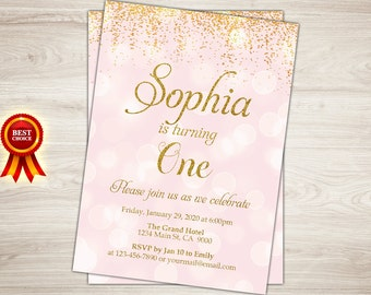 1st birthday invitation pink and gold first birthday etsy pink and gold birthday invitation gold glitter confetti 1st birthday invitation girl birthday invitation kids birthday printable invite filmwisefo