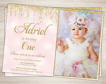 First Birthday Invitation Girl 1st Pink And Gold Glitter One Blush Confetti Printable Photo Invite