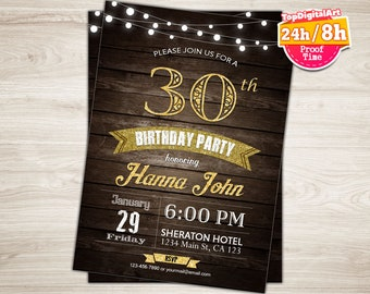 30th Birthday Invitation For Men Rustic Invite Surprise 35th Printable String Lights Wood Male