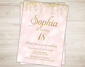 18th birthday invite etsy 18th birthday invitation girl 18th birthday invite pink gold 18th birthday party invitation printable 21st birthday invitation confetti filmwisefo