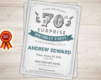 surprise 50th birthday invitation for men teal 50th birthday etsy