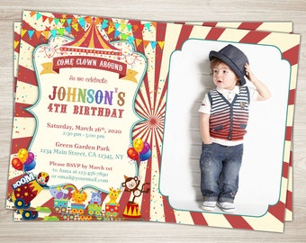 Circus Birthday Invitation 1st Party Boy First Carnival Printable Photo