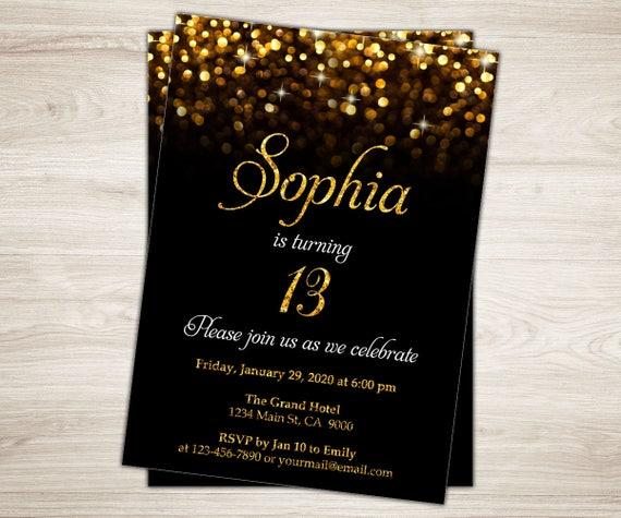 13th Birthday Invitation Girl Invite Teen