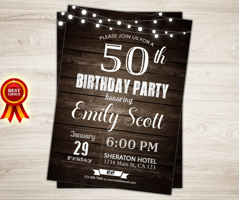 Surprise 50th Birthday Invitation Rustic Invite