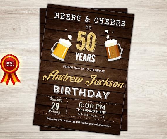 50 Cumpleaños Invitación Hombre Hombre Saludos A Los 50 Años Vítores Y Cerveza Invitación Pizarra Sorpresa 50 Cumpleaños Invitación Adulta