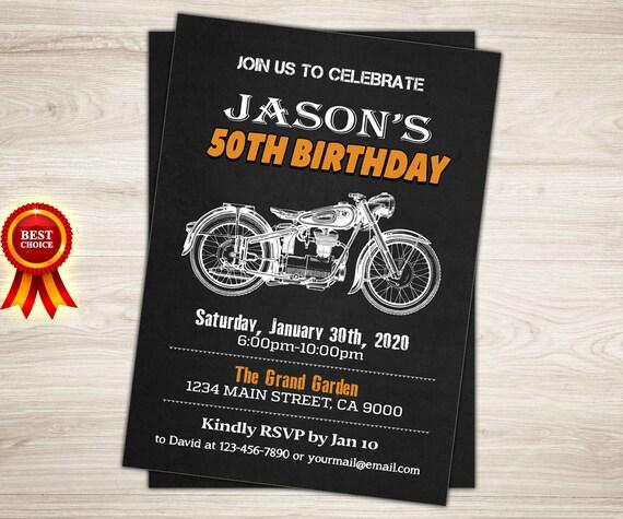 Motorrad Geburtstag Einladung Kreidekuste Cafe Racer Etsy