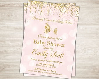 Butterfly Baby Shower Invitation. Pink gold Butterfly Baby Shower Invite. Printable Butterfly Kisses & Baby Wishes Invitation Fairy Spring