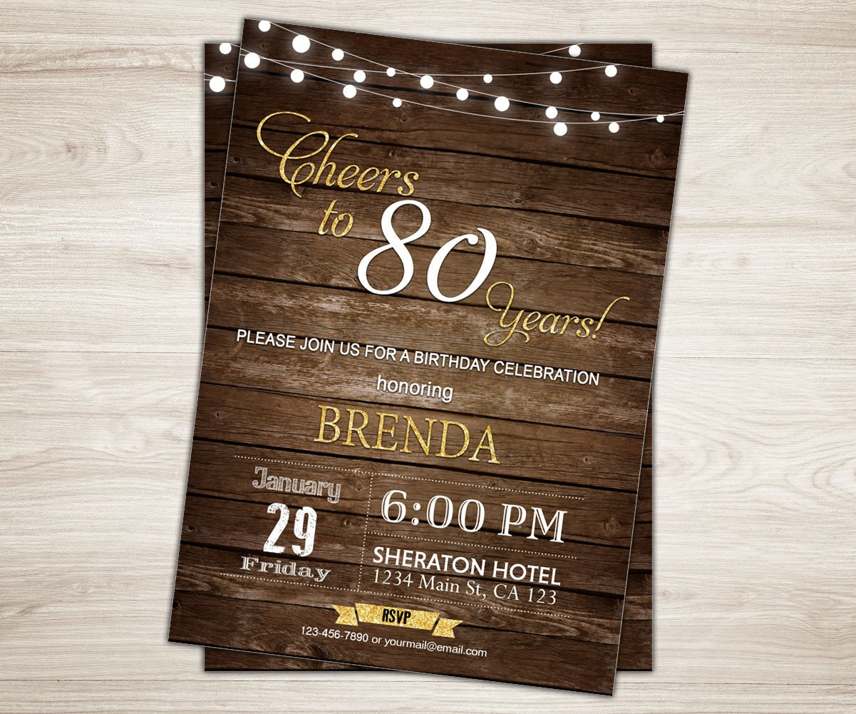 Cheers To 80 Years Invitation Rustic 80th Birthday For Men Wood Invite Printable Adult Party Man Male