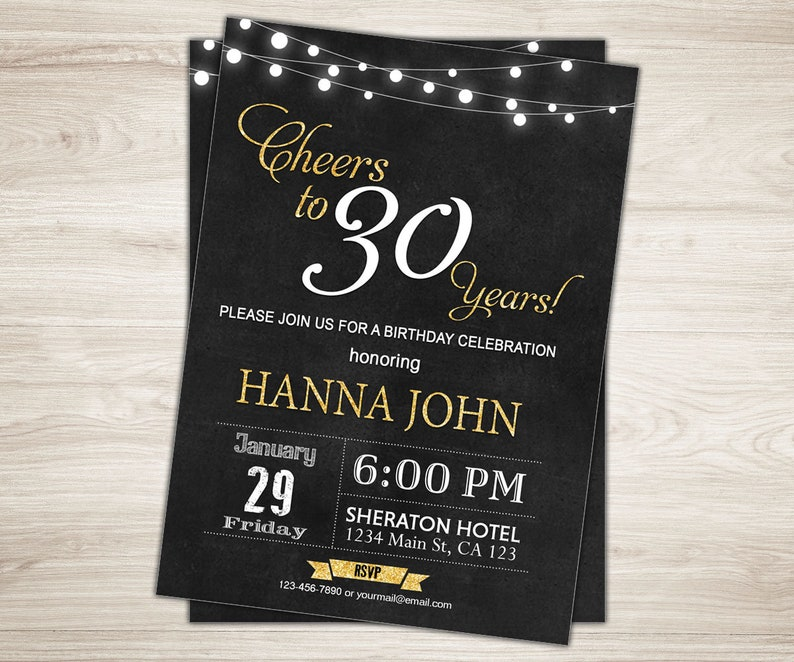 Surprise 30th Birthday Invitation For Her Cheers To 30 Years