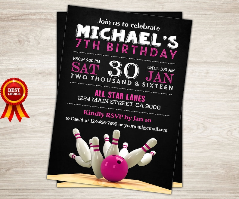 Bowling Invitation Printable Birthday