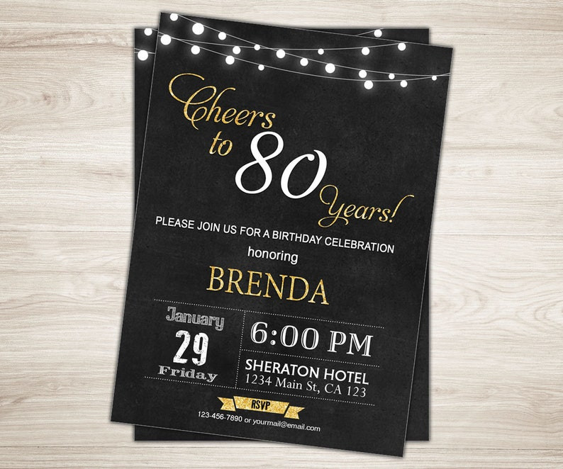 Surprise 80th Birthday Invitation For Men Rustic Cheers To 80