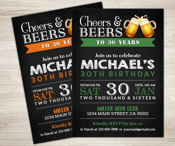 50th Birthday Invitation For Men Cheers Beers