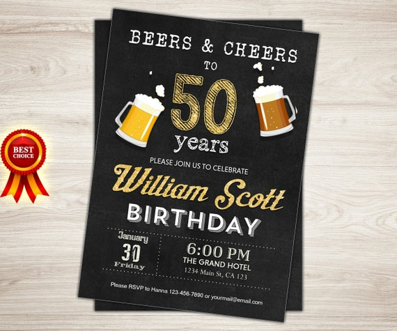 50th Birthday Invitation Man Male Cheers To 50 Years
