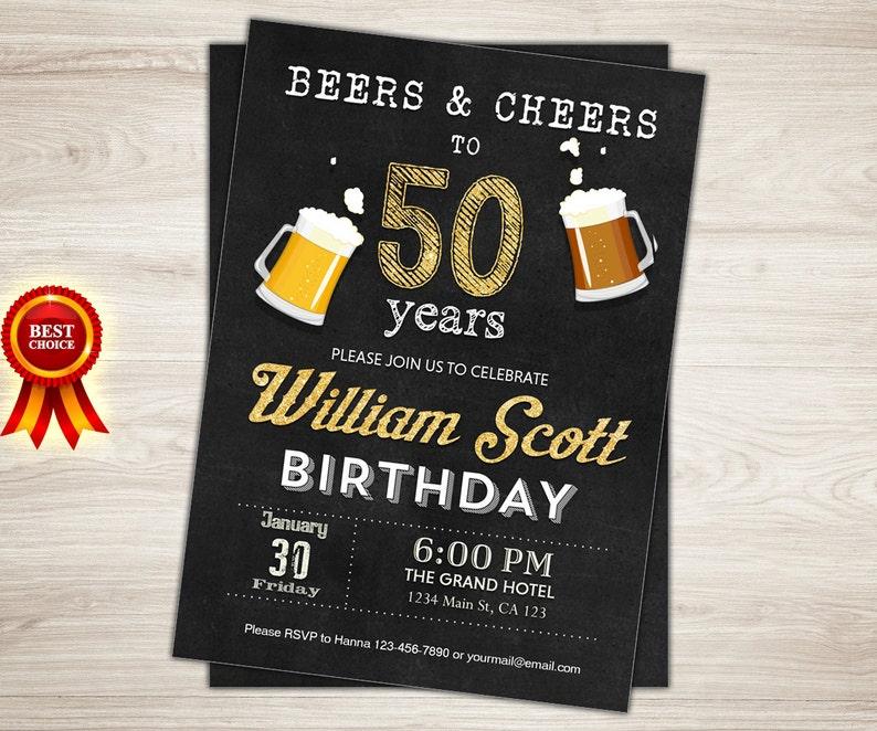 Bekend 50e verjaardag uitnodiging Man man Cheers tot 50 jaar Cheers | Etsy &RO03