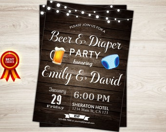 Diaper Party Invitation Beer and Diaper Party Invitation
