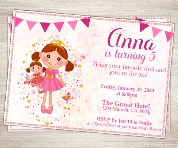 Baby Doll Party Invitation Girl 3rd 5th Birthday