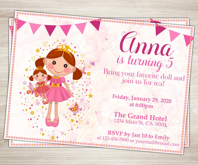 Baby Doll Party Invitation Girl 3rd 5th Birthday