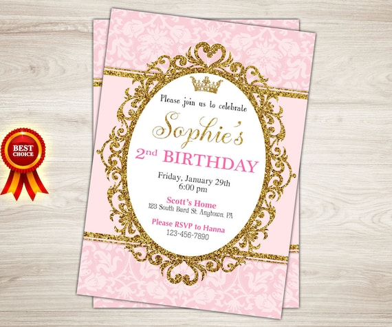 Princess Birthday Invitation 2nd Party Invite Pink