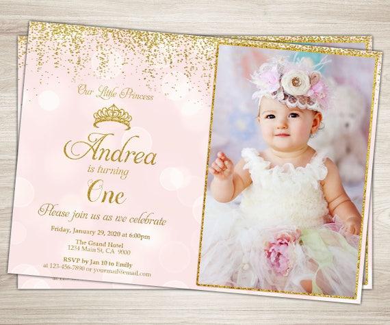 Princess Birthday Invitation Pink Gold
