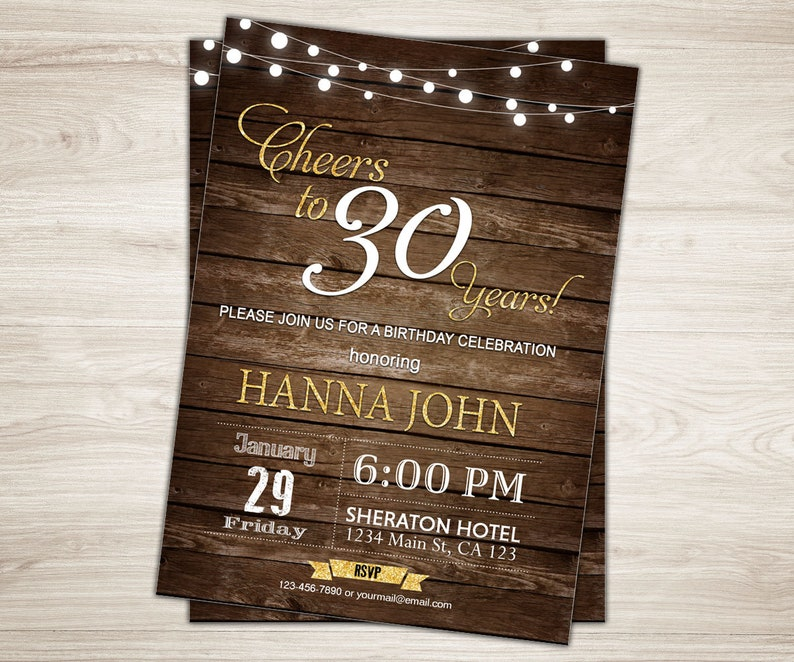 Surprise 30th Birthday Invitation For Him Cheers To 30 Years
