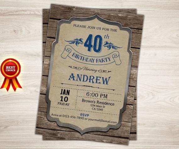 Surprise 40th Birthday Invitation For Men. 40th Birthday