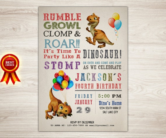 Dinosaur Birthday Invitation 4th