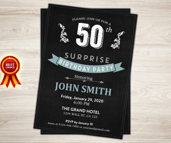 Surprise 50th Birthday Invitation For Men