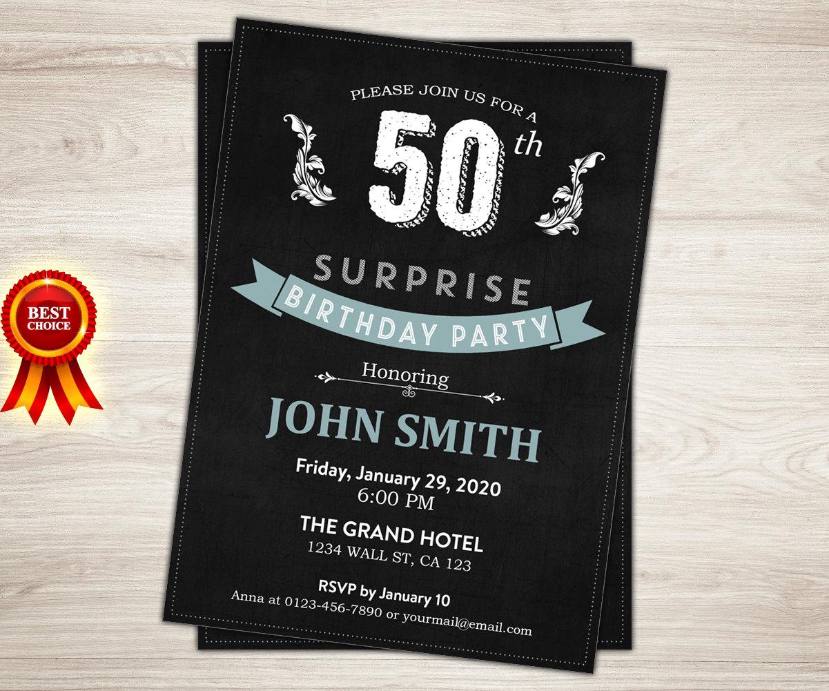 Surprise 50th Birthday Invitation For Men
