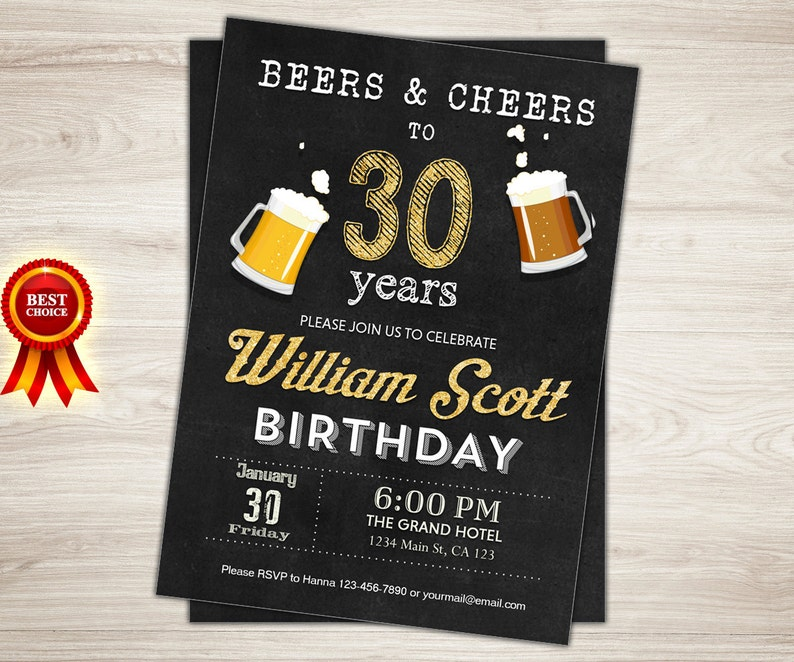 Surprise 30th Birthday Invitation For Men Cheers And Beers To