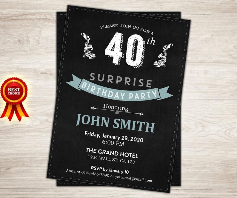 Surprise 40th Birthday Invitation For Men Chalkboard
