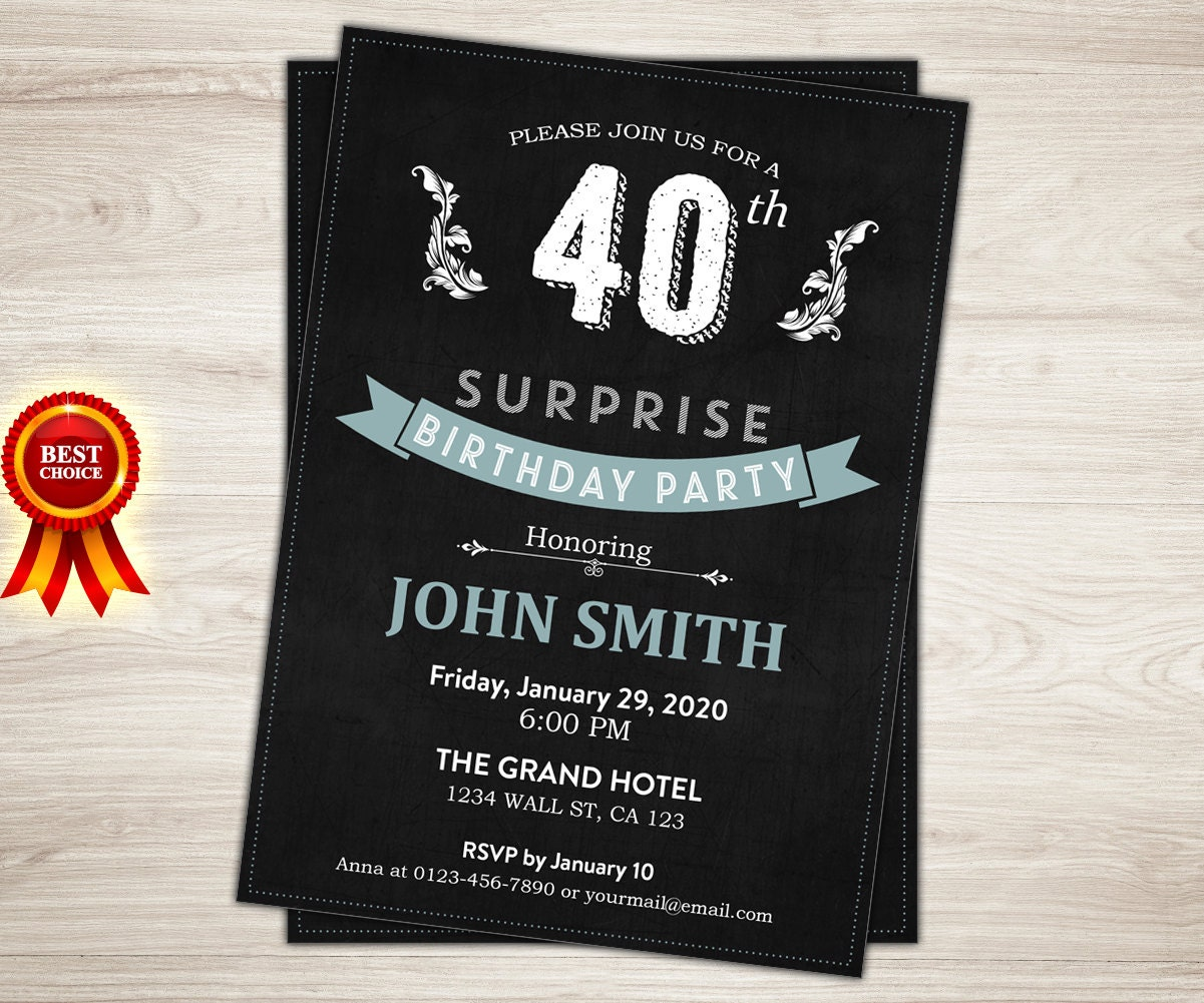 Surprise 40th Birthday Invitation For Men Chalkboard