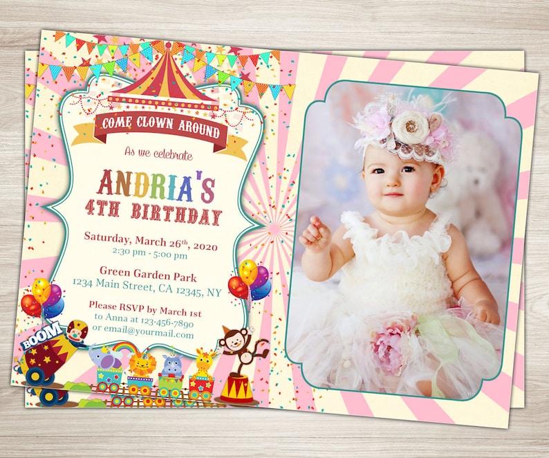 Girl Carnival 1st Birthday Invitation Photo