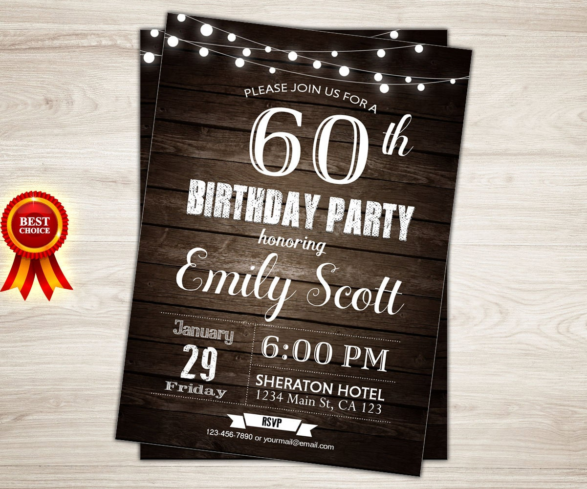 Surprise 60th Birthday Invitation Man Party