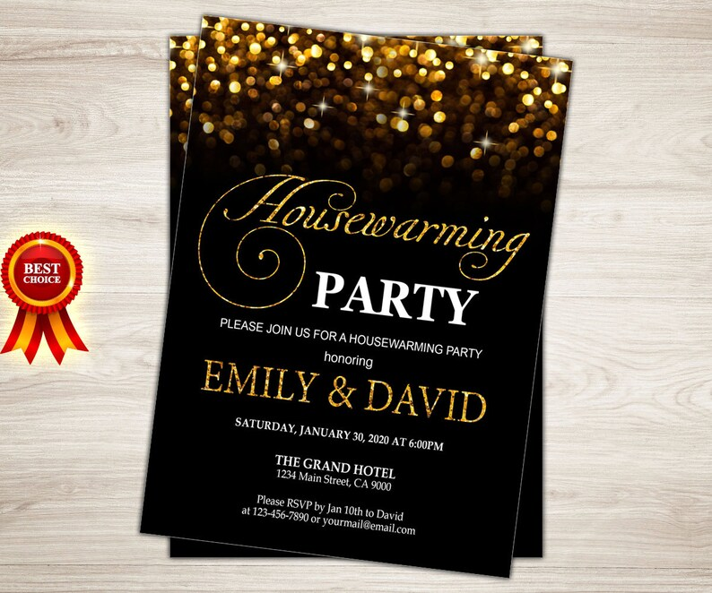 picture relating to Printable Housewarming Invitations known as Housewarming Invitation Printable Housewarming Celebration Invitation. Residence lovable residence. Black gold Refreshing home invite. Going Invitation. Very first residence