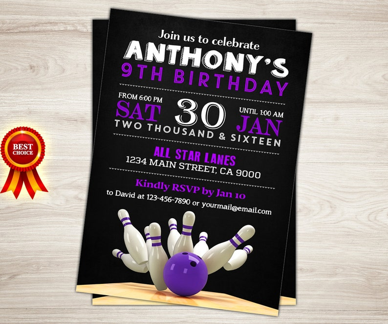 Bowling Invitation Party Birthday Purple
