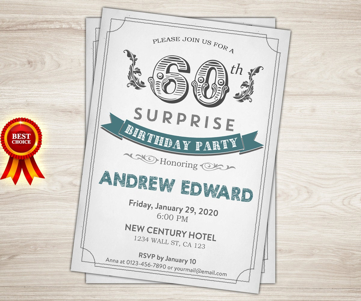 Surprise 60th birthday invitation. Man Surprise birthday party | Etsy
