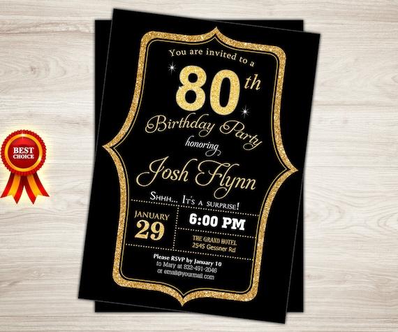 Surprise 80th Birthday Invitation Black Gold 80th Birthday Etsy
