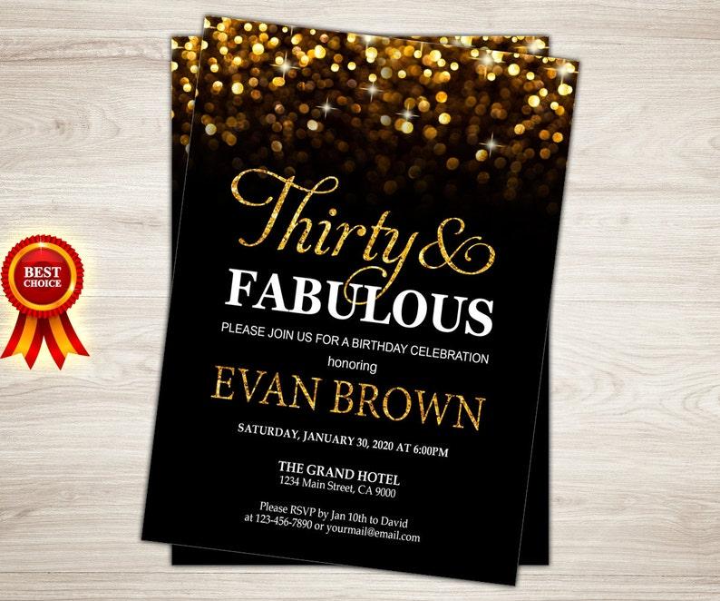 Surprise 30th Birthday Invitation For Women Thirty And Fabulous Invita